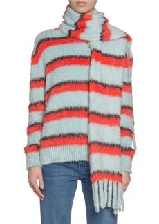 Marc Jacobs Fuzzy Striped Silk-Knit Scarf