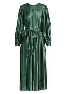 Marc Jacobs Runway Glitter Lamé Pleated Midi Dress