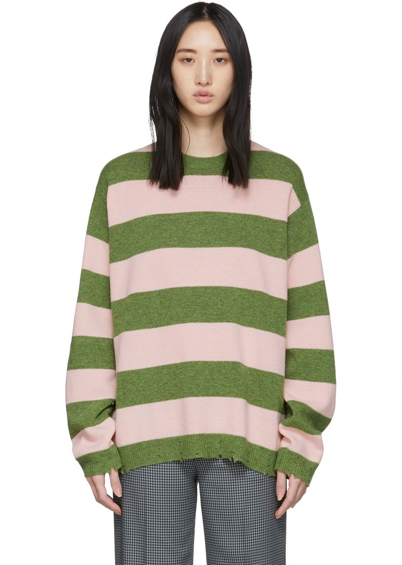 Marc Jacobs Green & Pink Wool Grunge Sweater