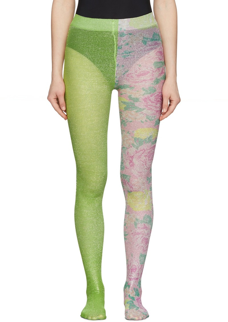 Marc Jacobs Green 'The Left & Right Print' Tights