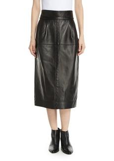 Marc Jacobs High-Waist A-Line Midi Lamb Leather Skirt