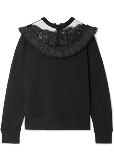 Marc Jacobs Lace And Taffeta-trimmed Cotton-jersey Sweatshirt