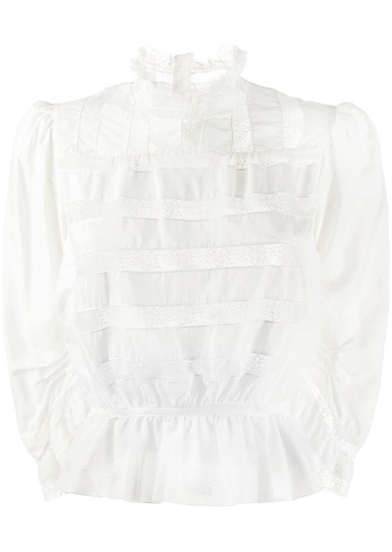 Marc Jacobs lace panelled peplum blouse