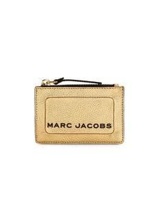 Marc Jacobs Logo Zip Metallic Leather Card Case