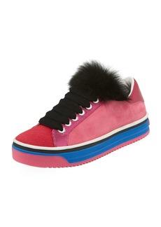 Marc Jacobs Love Empire Fur/Suede Low-Top Sneakers
