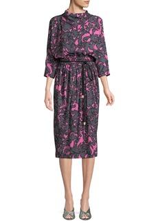 Marc Jacobs 3/4 Dolman-Sleeve Damask-Print Belted Dress