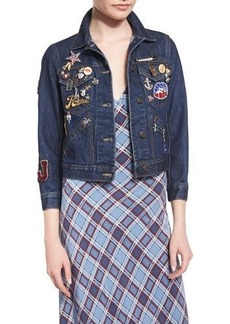 Marc Jacobs 3/4-Sleeve Embellished Denim Jacket