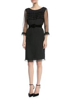 Marc Jacobs 3/4-Sleeve Ruffled Sheath Dress w/Belt