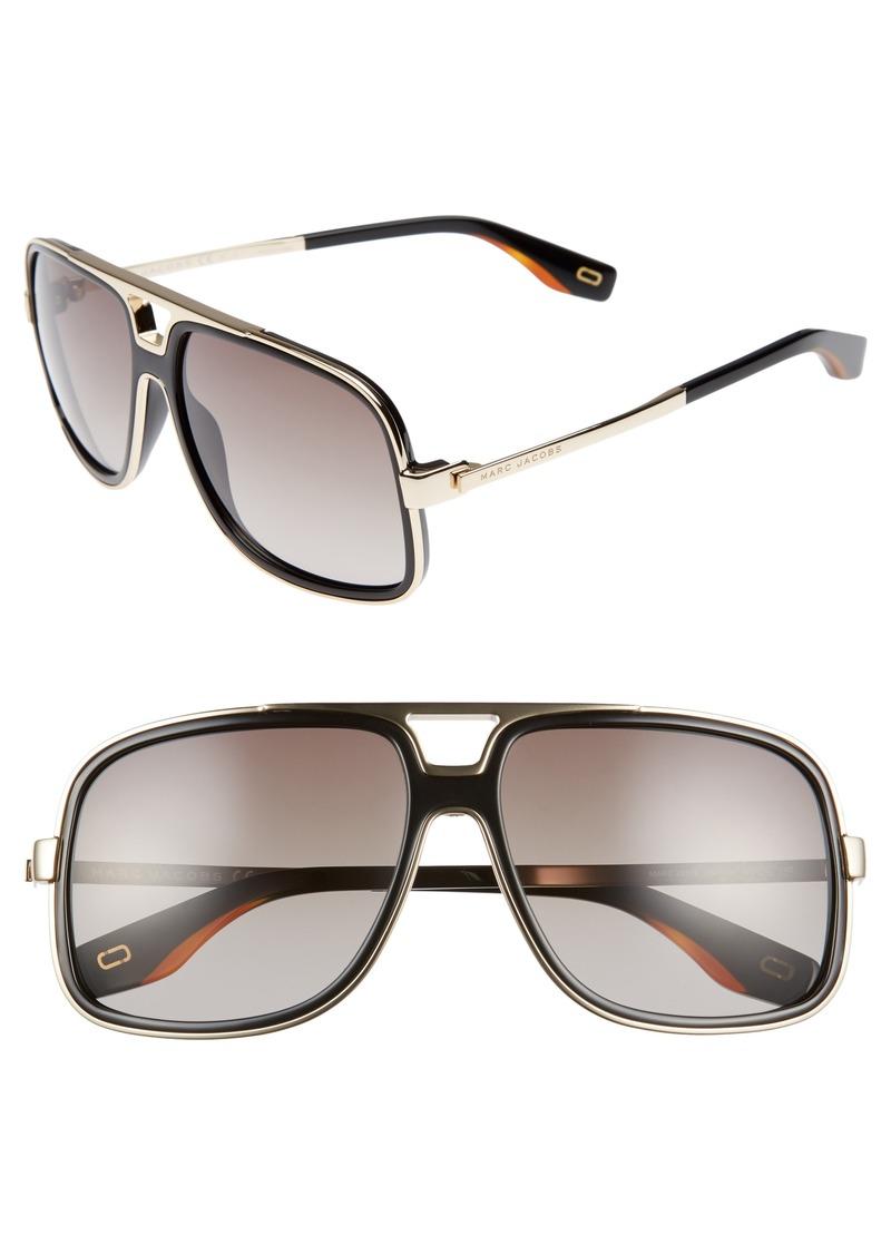 MARC JACOBS 60mm Gradient Lens Aviator Sunglasses