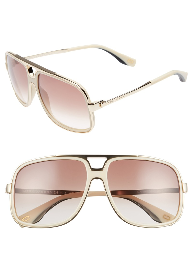 MARC JACOBS 60mm Gradient Lens Aviator Sunglasses