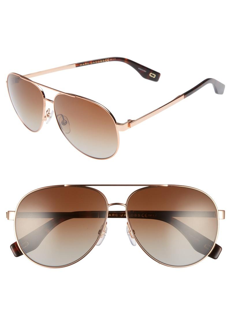 MARC JACOBS 61mm Polarized Metal Aviator Sunglasses