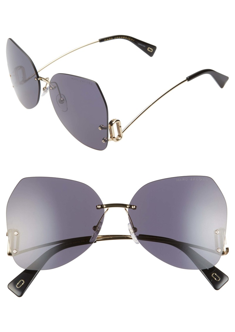 MARC JACOBS 63mm Oversize Rimless Butterfly Sunglasses