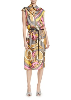 Marc Jacobs Abstract-Print Cowl-Neck Dress