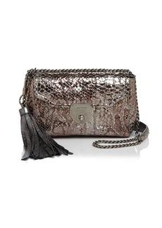 MARC JACOBS Basic Tassel Metallic Embossed Leather Shoulder Bag