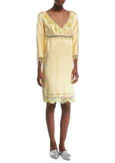 Marc Jacobs Beaded 3/4-Sleeve Satin Cocktail Dress