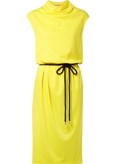 Marc Jacobs Belted Draped Jersey Midi Dress