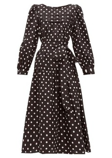 Marc Jacobs Belted polka-dot silk-satin midi dress