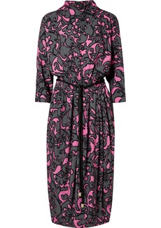 Marc Jacobs Belted Printed Jersey Midi Dress