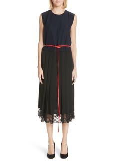 MARC JACOBS Bicolor Lace Trim Silk Dress