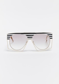 Marc Jacobs Black & White Striped Shield Sunglasses