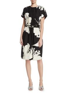 Marc Jacobs Bold Floral-Print Cap-Sleeve Dress