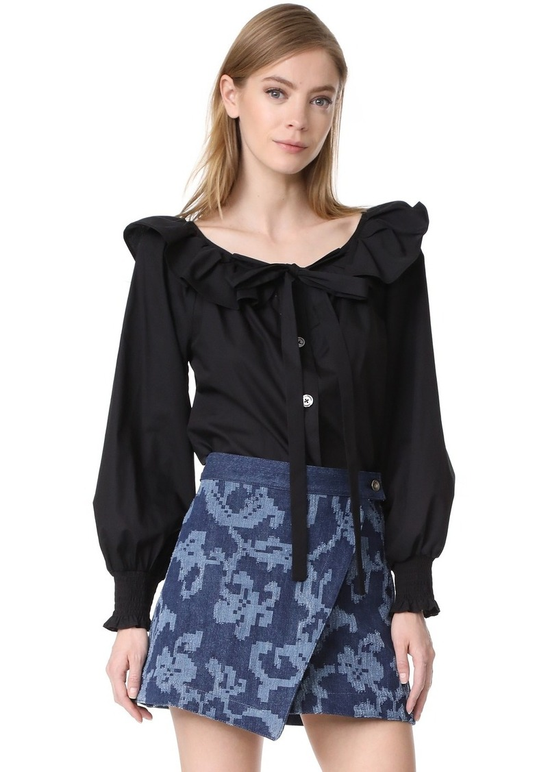 e93162f3cc0f77 Marc Jacobs Marc Jacobs Button Front Blouse with Ruffle | Casual Shirts
