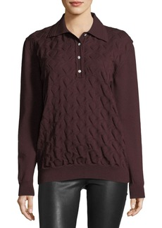 Marc Jacobs Cable-Knit Long-Sleeve Polo Sweater