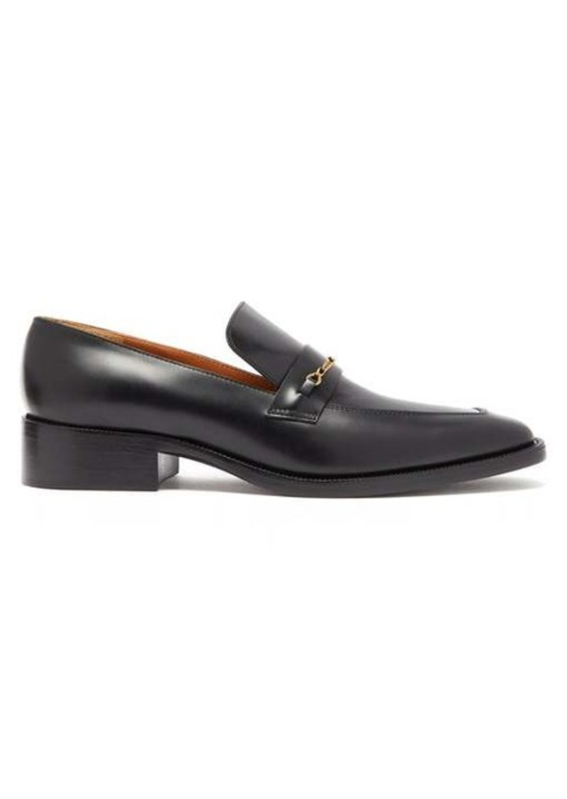 Marc Jacobs Chain-embellished square-toe leather loafers
