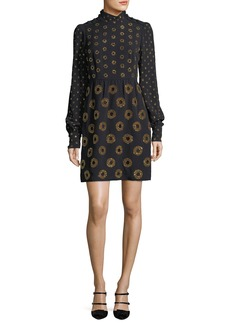 Marc Jacobs Circle-Embroidered Mock-Neck Mini Dress