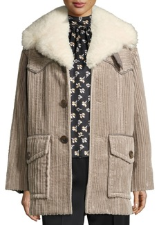 Marc Jacobs Corduroy Coat with Fur Collar