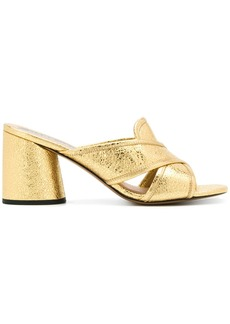 Marc Jacobs cracked crossover mules - Metallic