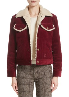 MARC JACOBS Crop Corduroy Jacket with Faux Shearling Trim