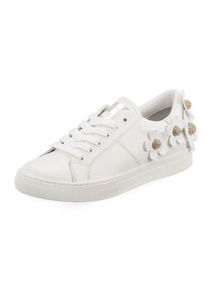 Marc Jacobs Daisy Crystal-Flower Leather Platform Sneakers