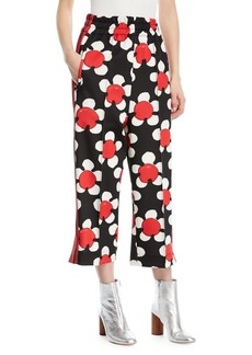Marc Jacobs Daisy-Print Wide-Leg Zip-Cuff Track Pants