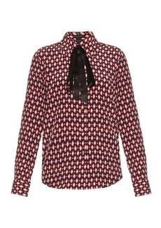 Marc Jacobs Diamond-print crepe de Chine shirt