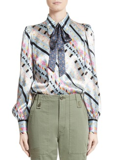 MARC JACOBS Doing Dishes Satin Tie Neck Blouse