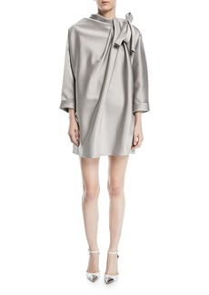 Marc Jacobs Dolman-Sleeve Satin Mini Cocktail Dress with Bow Detail