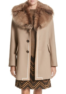 MARC JACOBS Double Face Wool Blend Coat with Removable Genuine Lamb Fur Collar