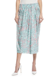 Marc Jacobs Draped Floral-Print Midi Skirt w/ Slit
