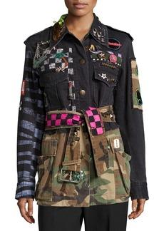 Marc Jacobs Embellished Camouflage Denim Jacket