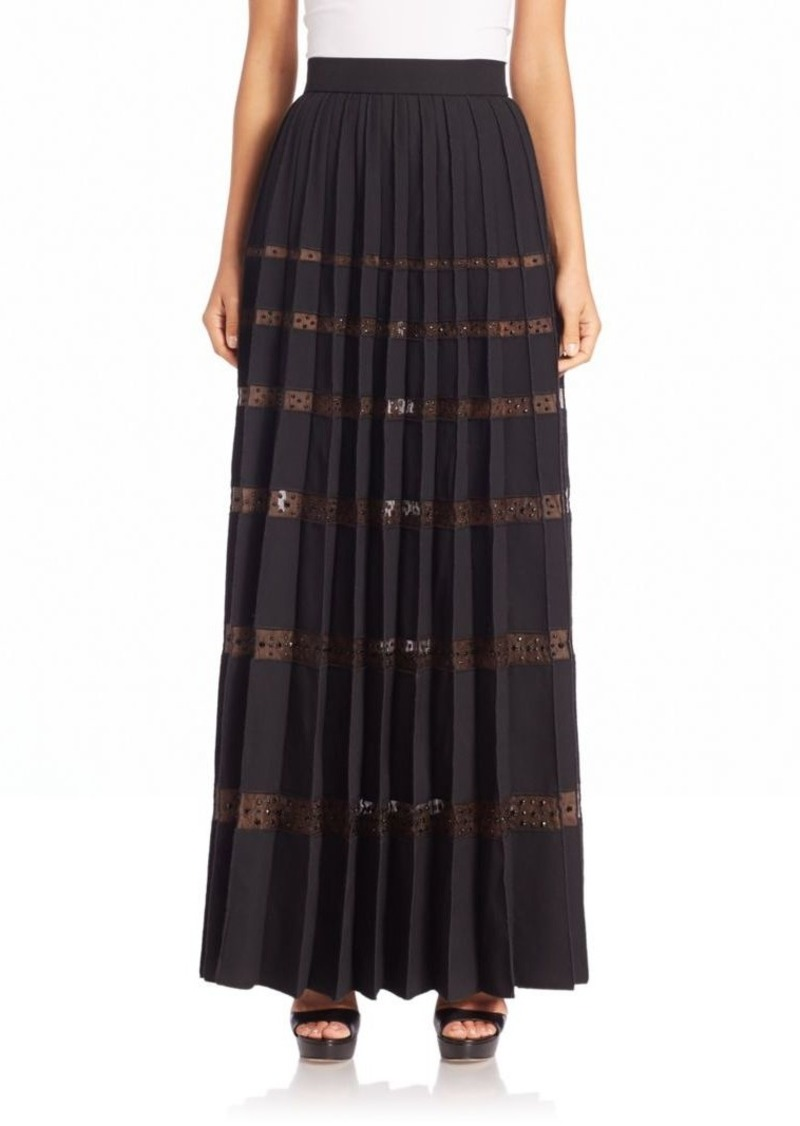 Marc Jacobs Embellished Sheer-Stripe Skirt