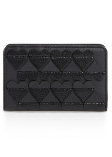 MARC JACOBS Embossed Heart Compact Leather Wallet