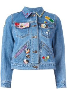 Marc Jacobs embroidered shrunken denim jacket - Blue