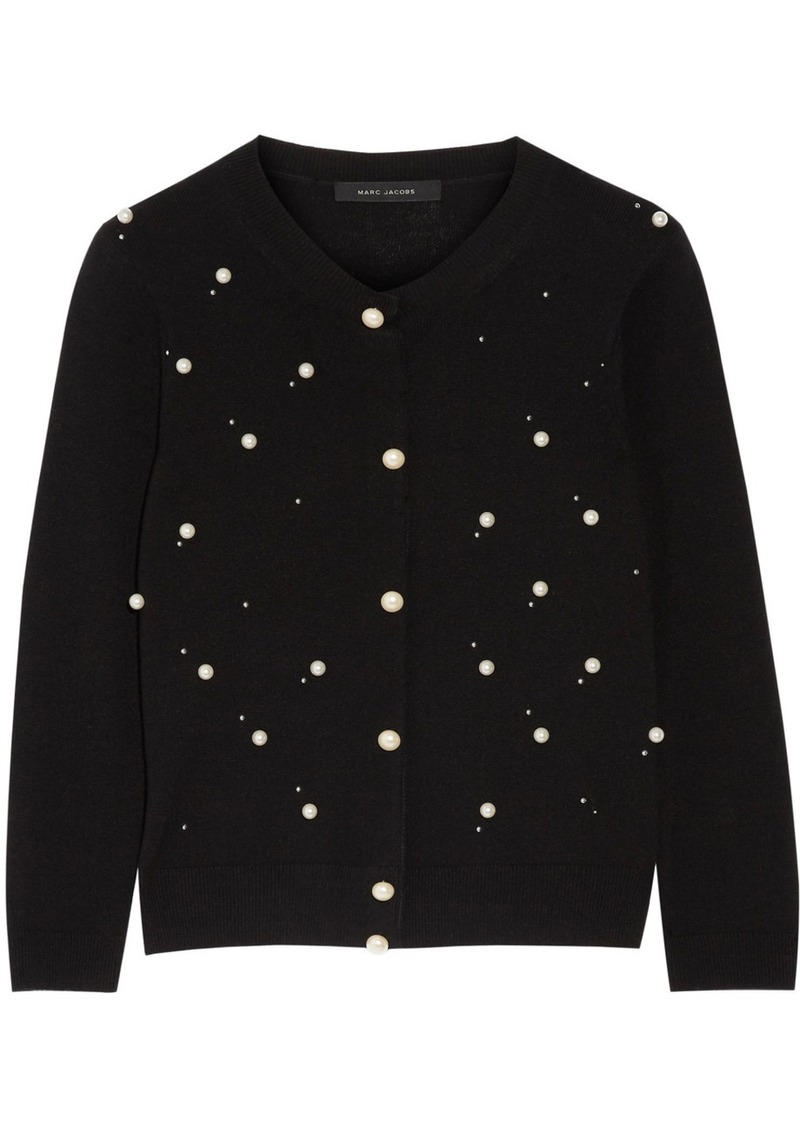 d2489deb219d Marc Jacobs Faux pearl-embellished merino wool and cashmere-blend cardigan