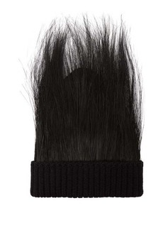 Marc Jacobs Runway Feather-trimmed wool beanie hat