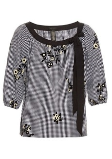 Marc Jacobs Flocked-floral cotton-gingham peasant blouse