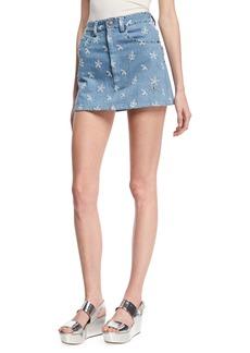 Marc Jacobs Floral-Embroidered Denim Miniskirt