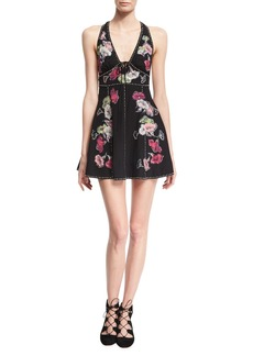 Marc Jacobs Floral-Embroidered Sleeveless Fit & Flare Minidress