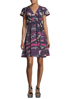 Marc Jacobs Floral-Print Cap-Sleeve Wrap Dress
