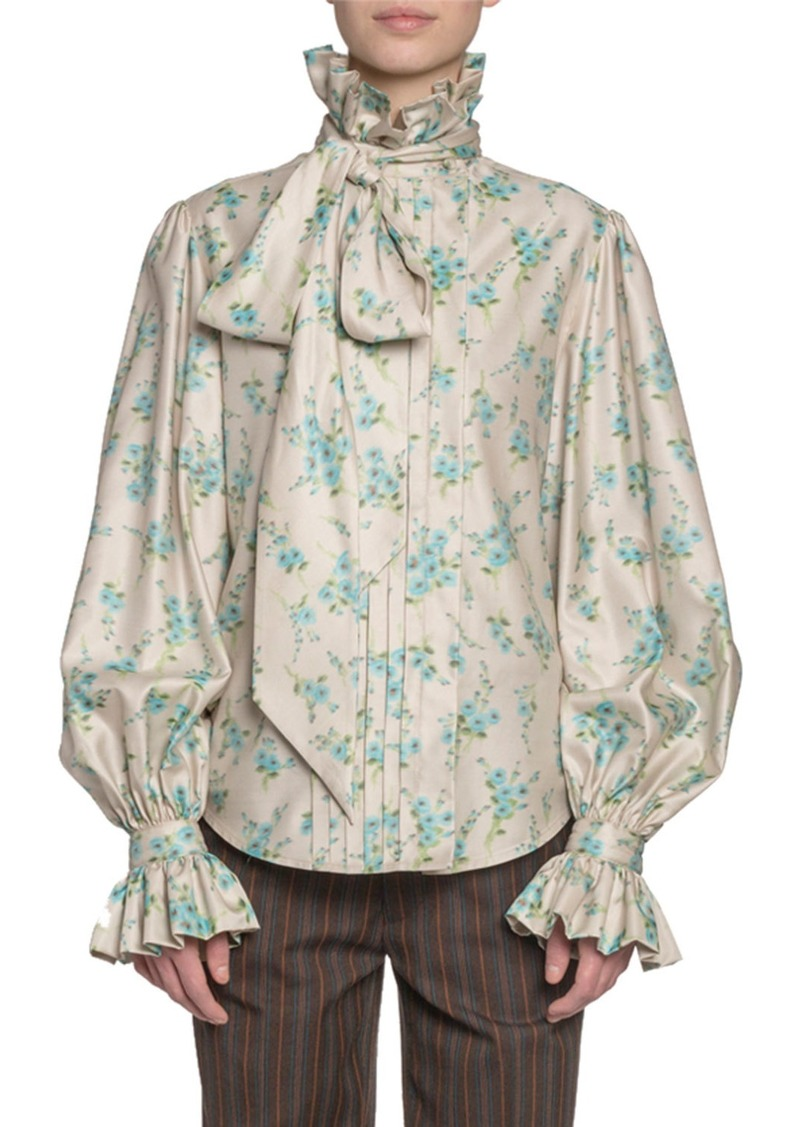 Marc Jacobs Floral Print Georgette Full-Sleeve Button-Front Shirt